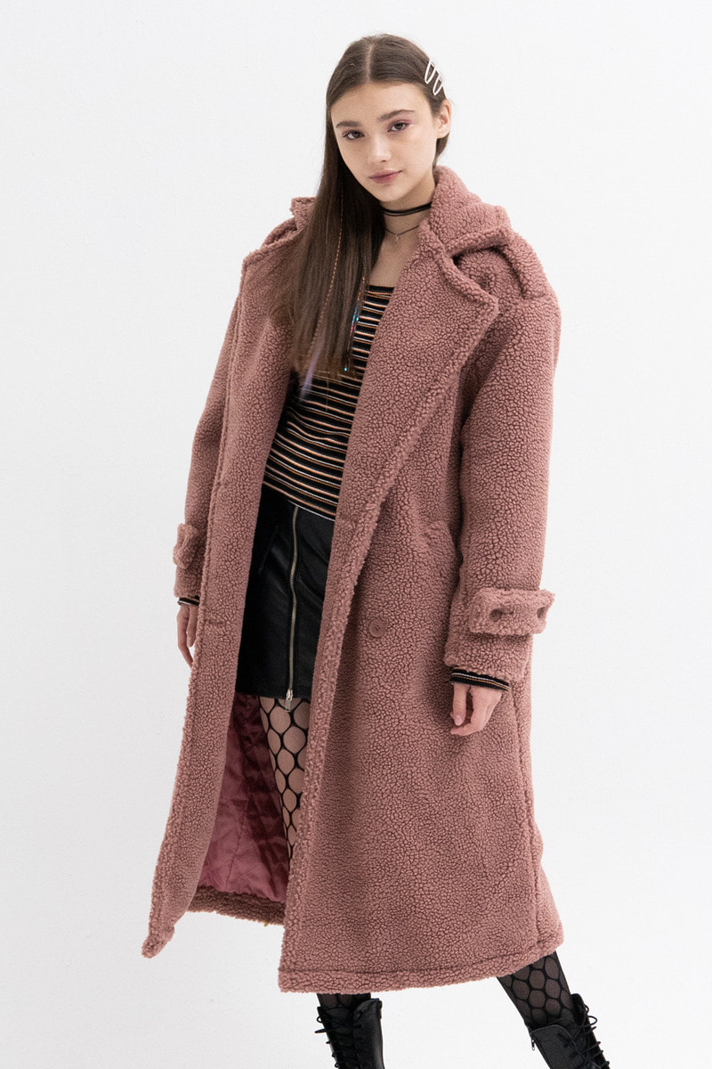 Oversized Teddy Coat (PINK)